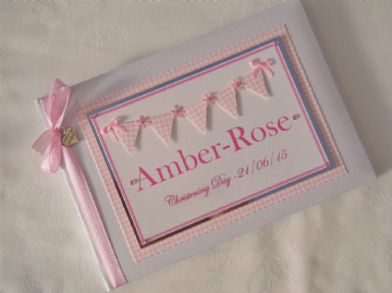 Pink Bunting Christening Guest Book
